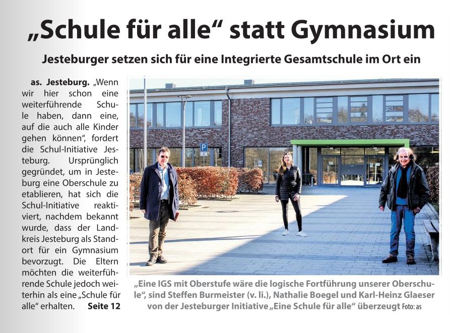 """Presse: """"Schule für alle"""" statt Gymnasium"""